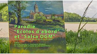 'Ecolos d'abord'  et ' Salsa OGM', vidéoparodies de Stéphanie Muzard avec Nicolas Hanny , répétition