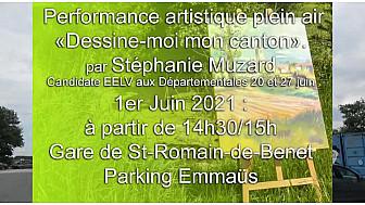 'Dessine -moi mon canton St Romain-de-Benet' performance à Emmaus